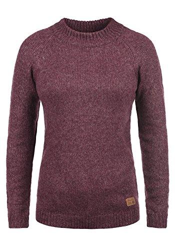 BlendShe Khola Damen Winter Strickpullover Troyer Grobstrick Pullover mit Stehkragen, Größe:XL, Farbe:Zinfandel (73006)