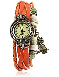 Naivo Women's Quartz Brass Plated Stainless Steel and Leather Casual Watch, Color:Orange (Model: NAIVO-WATCH-1200)
