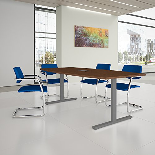 EASY Konferenztisch Bootsform 200x100 cm Nussbaum mit Elektrifizierung Besprechungstisch Tisch, Gestellfarbe:Silber