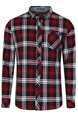 Tokyo laundry - camicia di flanella a scacchi, cotone pettinato, da uomo deep red medium