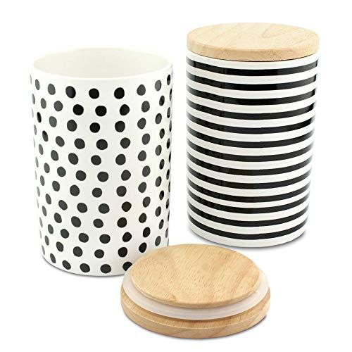 MC Trend Set di 2 barattoli in porcellana con coperchio in legno e guarnizione in gomma per la conservazione dell'aroma, da 680 ml ognuno