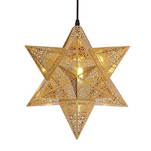 QB Retro araña de Oro Creativo en Forma de Estrella luz de Techo lámparas de Acero Inoxidable E27 Pantalla Hueca Restaurante iluminación del Dormitorio,S