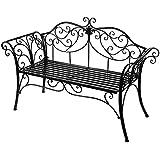 HLC Banco de jardín de hierro forjado, inoxidable y plegable- color negro, Diferentes colores a elegir, 133*49*90cm