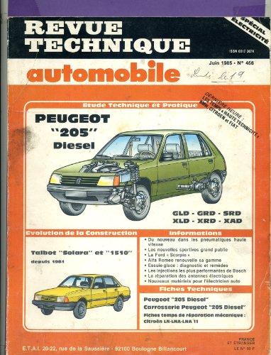 Revue technique automobile Peugeot 205 diesel - GLD GRD SRD XLD XRD XAD - Talbot solara et 1510 depuis 1981 par non précisé
