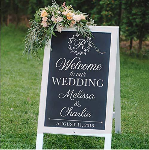 Qqasd Willkommen zu unserer Hochzeit Tafel Aufkleber Hochzeit DIY Vinyl Aufkleber Custom Braut Bräutigam Name und Datum Hochzeit Dekor Aufkleber 56x32 cm