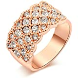 Yoursfs Fashion Crystals Pave Set 18k Rose Gold Plated Cluster Dressing Ring