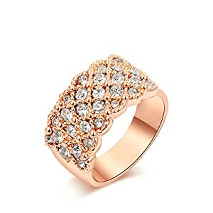[Love Gift]Yoursfs Shinning Crystal Wedding Band 18K Rose Gold Plated Rings(S)