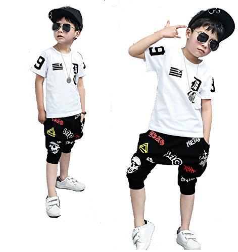 ea Kinder Mädchen Jungen, Hip Hop Ballroom Dance, weiß, 110 cm (Hip Hop Tanz Kostüme Für Erwachsene)