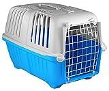 My-goodbuy24 Transportbox für Hund und Katze tiertransportbox Hundetransportbox Hundebox Katzenbox Katzentransportbox 47 x 30 x 30cm groß - Blau Grau