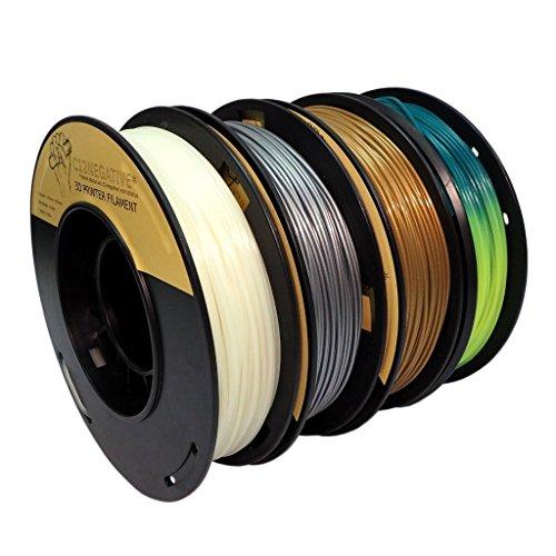PLA 1.75mm 4x250g oro/plata/fosforescente/termocrómico - Filamento pa