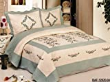 3pc Beige / Aquablue Nice Design Fully Quilted - Best Reviews Guide