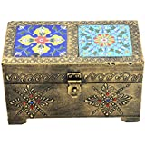 Handmade Handpainted Painting Ceramic Brass Home Decorative Tiles Wooden Dry Fruit Box
