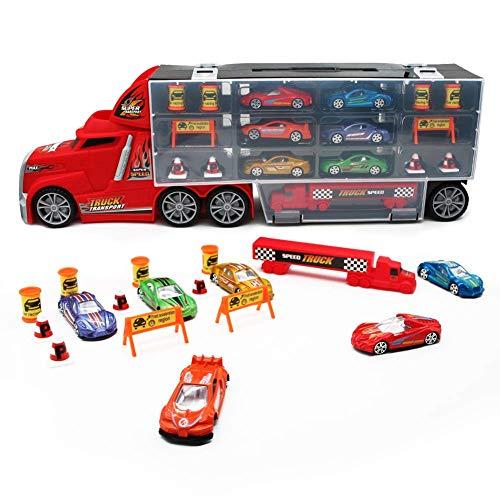 Nuheby Camion Bisarca Giocattolo Trasportatore Portatile Trasporta Cars Macchinine Compreso 6 Mini Auto 1 Piccolo Camion e 10 Accessori Macchinine Giocattolo per Bambini 3,4,5,6 Anni