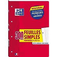 OXFORD Lot de 300 Pages Feuilles Simples A4 (21 x 29, 7cm) Détachables et Perforées Petits Carreaux 5 x 5mm + Couverture de protection