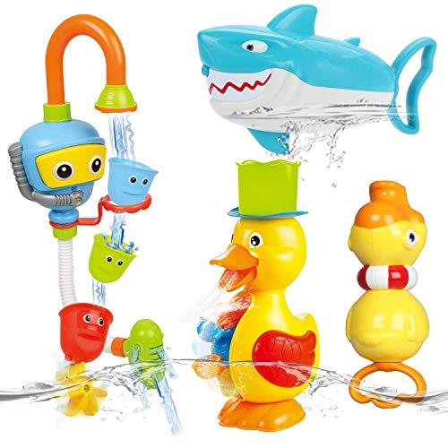 NUÜR Badespielzeug-Set, Ente Hai Badewannenspielzeug Hochwertiges Baby Badespielzeug Wassermühle Bath Toys für für Baby & Kleinkind Dusche und Schwimmen Spielzeug