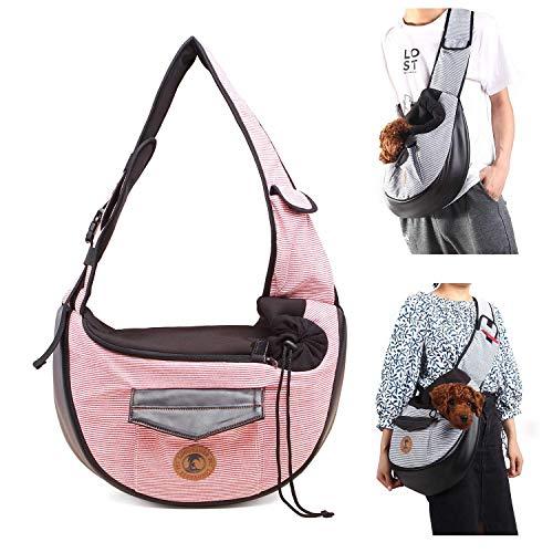 DaQao Transportboxen Reisetasche Tragetaschen Umhängetaschen Haustiere Hundetaschen Katze,Rucksack Faltbare Umhängetasche,Babytrage für kleine Hunde,Pink Dog Carrier Wasserdicht -