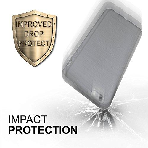 iPhone 5C Hülle Silikon Schwarz [OneFlow Brushed Back-Cover] TPU Schutzhülle Ultra-Slim Handyhülle für iPhone 5C Case Dünn Silikonhülle Rückseite Tasche PLATIN-SILVER