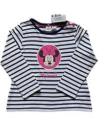 Bebé niñas Original camiseta Top Disney Baby Minnie Mouse 2-24 meses gris viejo y la marina de guerra azul rayas