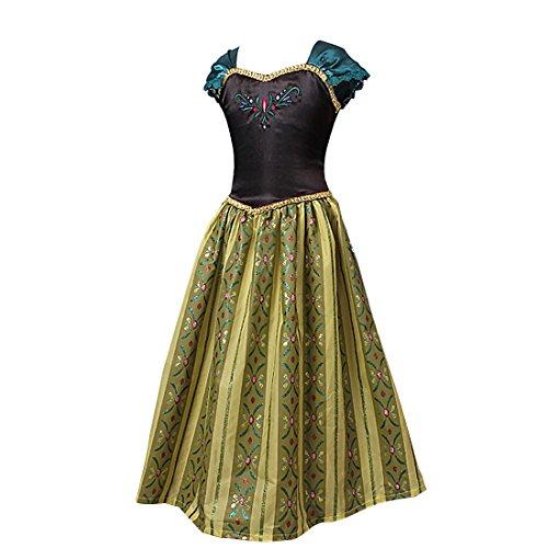 faschingskostuem eiskoenigin elsa Tiaobug Eiskönigin Prinzessin Kostüm Mädchen Kleid Kinder Verkleidung Karneval Party Cosplay Grün+Schwarz 122-128 (Herstellergröße:140)