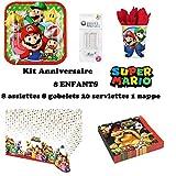 Kit Super Mario 8 Enfants Complet Anniversaire (8 Assiettes, 8 gobelets, 20 Serviettes, 1 Nappe + 10 Bougies Magiques) fête Garcons Filles