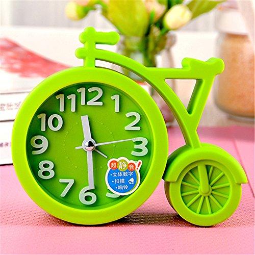 AIZIJI Personalidad De La Moda Creativa Pequeño Reloj Despertador En El Dormitorio De Los Niños Estudiantes Perezosos Reloj Electrónico De Cabecera 13.5X9.5X4Cm,Verde