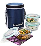 Signoraware Executive Glass Lunch Box Set with Bag, 400ml/16cm, 3-Pieces (with 3 seals)