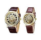 Covermason 2PCS/Set Paare Armbanduhr Herren Damen Armbanduhr Uhr Leder-Band Hohl Skeleton