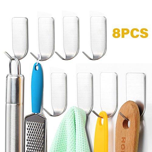 SunTop 8 Stück Edelstahl Handtuchhaken Haken Kleiderhaken Selbstklebend Bad und Küche Handtuchhalter Kleiderhaken Ohne Bohren (8 Stück Bad)