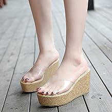 KPHY-La Primavera Y El Verano Nuevo Estilo Tacon 9 Cm De Tacon Alto Pendiente Grano De Madera Plataforma Boca De Pez Impermeable Zapatos De Mujer Transparente Cristal Vidrio Pegamento Cool Zapatillas Treinta Y Seis Albaricoque