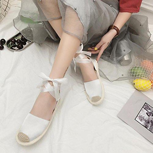 Transer® Damen Flach Sandalen Baumwollstoff+Kunststoff Schnüren Ankle-strap Weiß Schwarz Blau Party Outdoor Unternehmen Schuhe Gr.35-40 Weiß