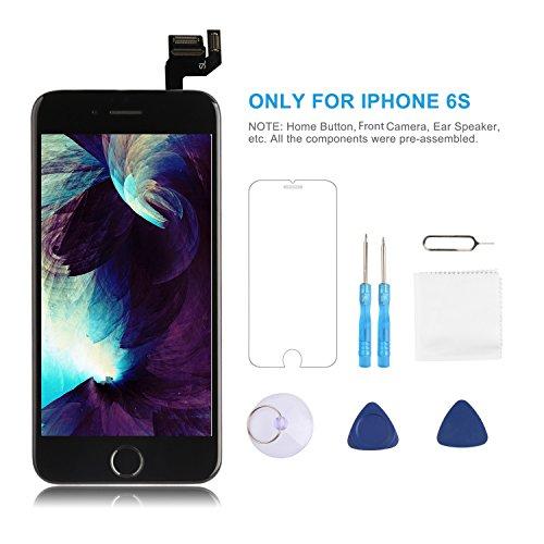 per iPhone 6s Sostituzionedello Schermo Nero 4,7' Display LCD 3D Touch DigitizerKit completo, con Home Button, Sensore di Prossimità, Speaker, Fotocamera Frontale, Protezione Schermo, Strumenti di Rip