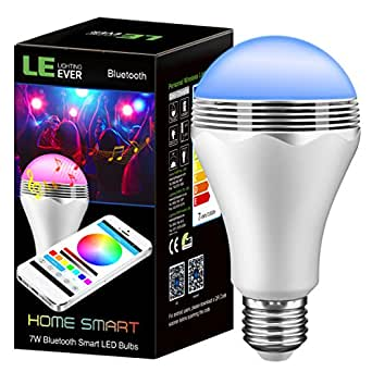 le led bluetooth smart birne rgb lampe mit musik lautsprecher 7w ersetzt 35w gl hbirne 350lm. Black Bedroom Furniture Sets. Home Design Ideas