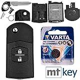 Mazda Autoschlüssel Funk Fernbedienung Austausch Gehäuse mit 2 Tasten + Rohling + Batterie für Mazda 5 CW 2 DE 3 BK 6 SW BT-50 CX-9 CX-7 B