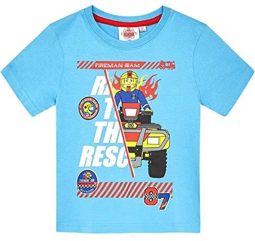 Feuerwehrmann Sam T-Shirt Jungen Rundhalsausschnitt (Hellblau, 104)