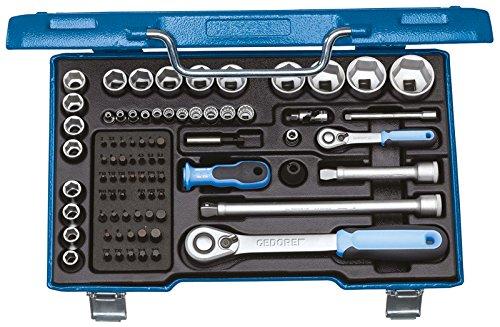GEDORE 19 V20U-20 Steckschlüsselsatz 1/2″, 1/4″ & 5/16″ mit Umschaltknarren / 81-tlg. Steckschlüssel- und Bitsatz mit 1/4″-, 5/16″ & 1/2″-Bits und 2 umschaltbaren Ratschen inkl. Zubehör