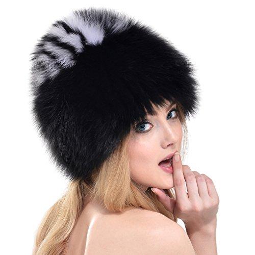 Ollebobo vera pelliccia volpe cappello donna stile russo cosacco a righe caldo nero