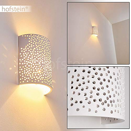 Wandlampe Cusco aus Keramik in Weiß, Wandleuchte mit Lichteffekt, 1 x E14-Fassung, max. 40 Watt, Innenwandleuchte mit handelsüblichen Farben bemalbar, Up & Down-Effekt mit Lochmuster