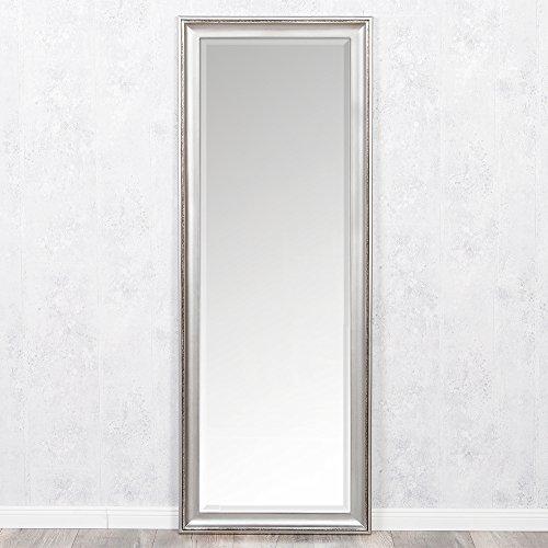 LEBENSwohnART Spiegel COPIA 160x60cm Silber-Antik Wandspiegel Barock Holzrahmen und Facette