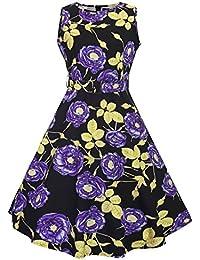 Feoya Mujer Retro Vestido Estilo Audrey Hepburn Estampado Floral Años 50 Rockabilly Dress sin Mangas Vintage Vestido de Fiesta Verano