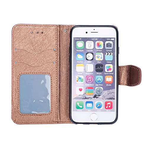 iPhone 6S Hülle,iPhone 6 Schutzhülle,JAWSEU Retro Cool Lanyard/Strap Bookstyle Prägung Tribal Elefant Muster Pu Ledertasche Magnetverschluss Handyhülle Wallet Brieftasche Etui Case Cover mit[Ständerfu Weinrot