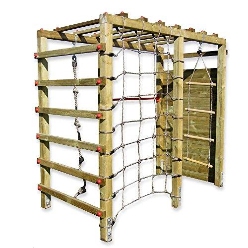 Gartenpirat Klettergerüst Premium mit Kletterwand Spielgerüst aus Holz für den Garten mit Reck und Kletternetz -