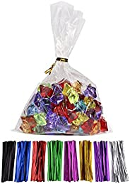 100 Pcs 6 in x 4 in(1.4mil.) Clear Flat Cello Cellophane Treat Bags Good for Bakery, Cookies, Candies,Dessert