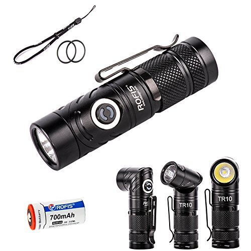 Preisvergleich Produktbild Rofis TR10 CREE XP-L HI V3 LED 900 Lumens Variable-Output Side-Switch Led Flashlight and Angle Light with 700mAh RCR123A Battery