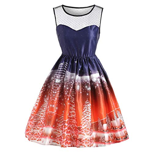 Preisvergleich Produktbild Luckycat Damen Ärmellose Weihnachten Gedruckt Vintage Abend Party Prom Swing Dress Abendkleider Cocktailkleid Partykleider Blusenkleid Mode 2018