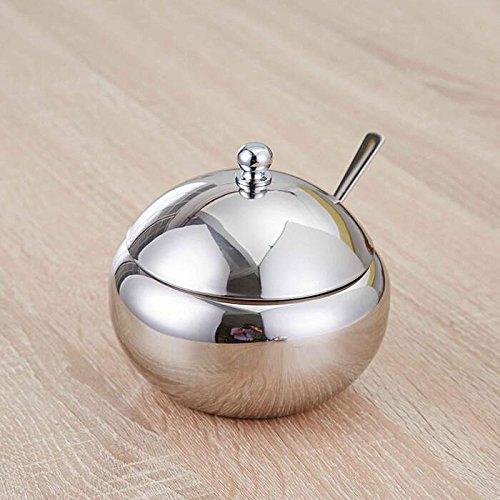 Ahui Spice Jar 304 Edelstahl Spiegel Licht Verarbeitung Runde Gewürzdosen Lagerung Condiments Cup Mit einem Löffel -460ML / 560ML - Set von 2 , trumpet 460ml