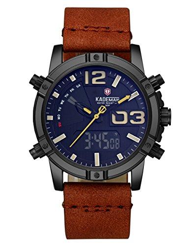 CIVO Herren Digitaluhr Sport Militär Jungen 30M Wasserdicht Chronographen Multifunktions Uhren LED Alarm Datum Kalender Braune Lederband Armbanduhren Business Casual Mode...