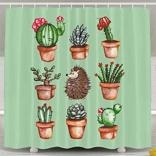 Decams Cortina de Ducha de Erizo y Cactus, Cortina de Ducha de poliéster Impermeable para Hombres y Mujeres