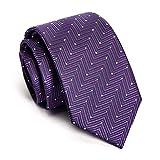FYDL Abito Formale da Uomo Cravatta da Uomo Casual Cravatta Piccola Viola Ripple Point L145CM × W7CM (Colore : A, Dimensioni : M)