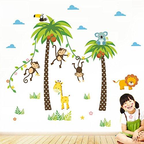 Waldtiere Giraffe Lion Monkey Palme Wandaufkleber für Kinderzimmer Kinder Wandtattoo Kinderzimmer Schlafzimmer Dekor Poster Wandbild