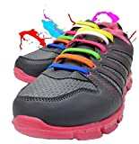 WELKOO® Lacets Elastique en Silicone Sans Lacage Etanche pour Chaussure Enfant -12pcs Couleur milticouleur